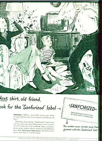 1947 Sanforized Clothes AD GILBERT BUNDY ART (Image1)
