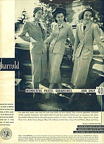 1947 Harrold pastel gabardines ad 3 MODELS (Image1)