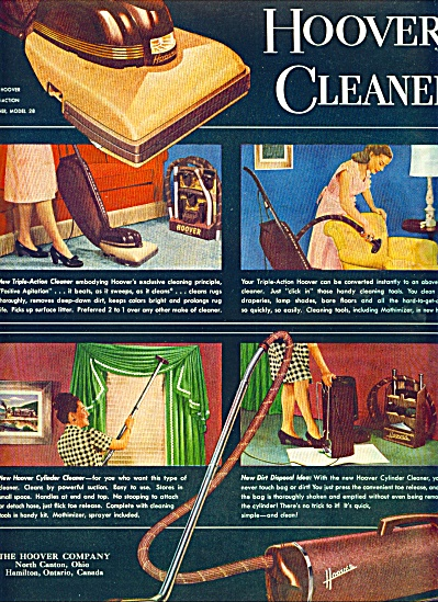 The Great New Hoover Cleaners Ad 1947