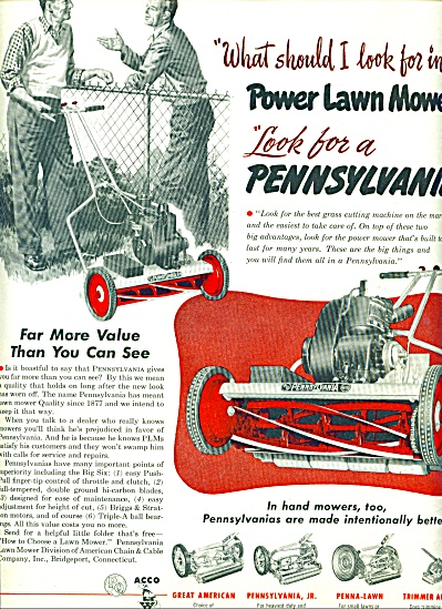Pennsylvania Power Lawn Mowers Ad 1952