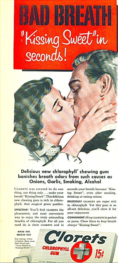 1952 Clorets gum AD KISSING SWEET COUPLE ART (Image1)