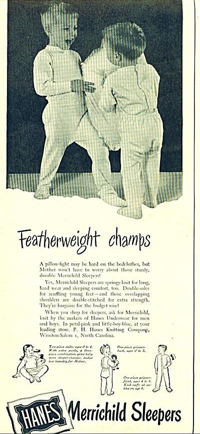 1947 Hanes Merrichild Pajama Sleeper AD BOYS (Image1)