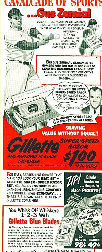 Gillette Blue Blades And Razor Ad 1952