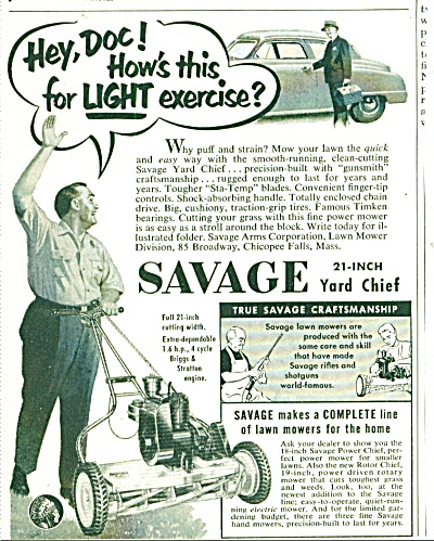 Savage lawn mower ad 1952 (Image1)
