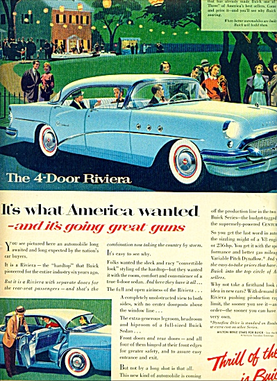 1955 Buick 4 door Riviera CAR AD BLUE ART (Image1)