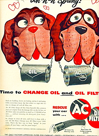 1955 AC Oil filter AD CARTOON DOGS St Bernard (Image1)