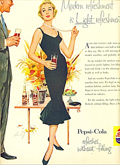 1955 Pepsi Cola AD LEVERING ART Elegant LADY (Image1)