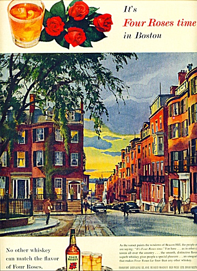 1955 FOUR ROSES AD Beacon Hill Boston ART (Image1)