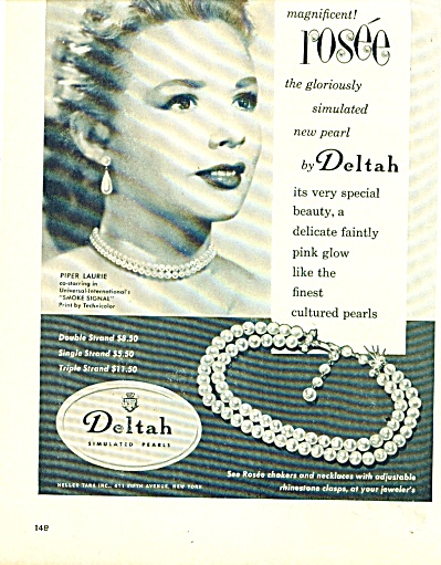 1955 Deltah Pearls Ad - Piper Laurie