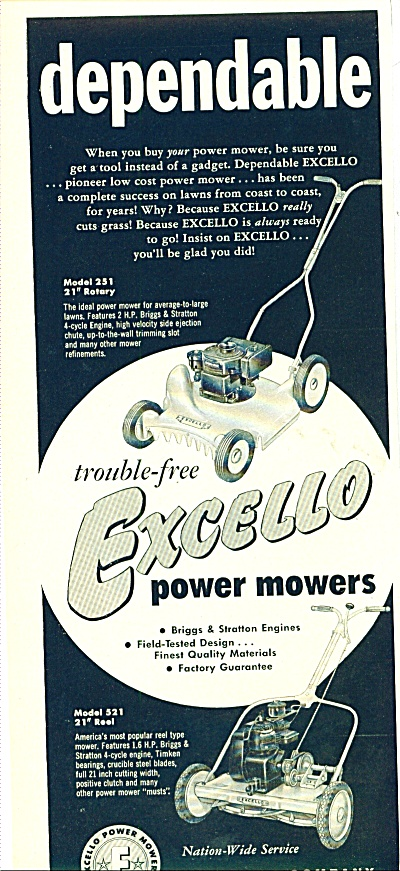 Excello power mowers ad 1955 (Image1)