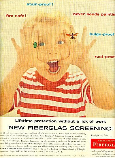 Owens Corning Fiberglas screening ad 1955 (Image1)