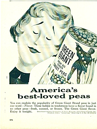 1955 Green Giant Sweet Peas Ad Best Loved