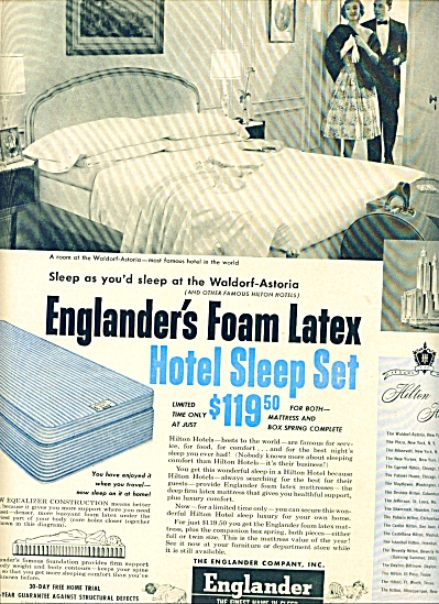 1955 Englander Foam LATEX sleep set ad 1955 (Image1)