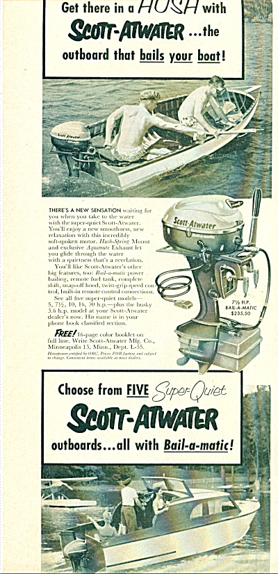 1955 Scott-atwater Outboard Motor Ad
