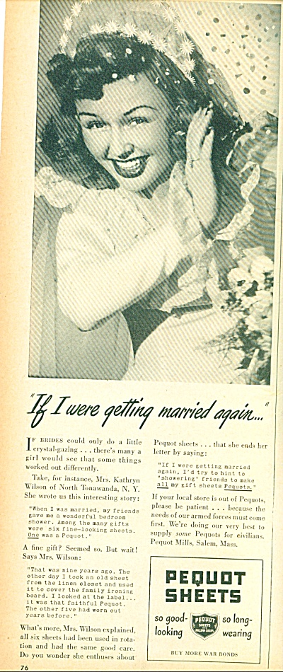 1945 PEQUOT Sheets AD BEAUTIFUL BRIDE Pic (Image1)