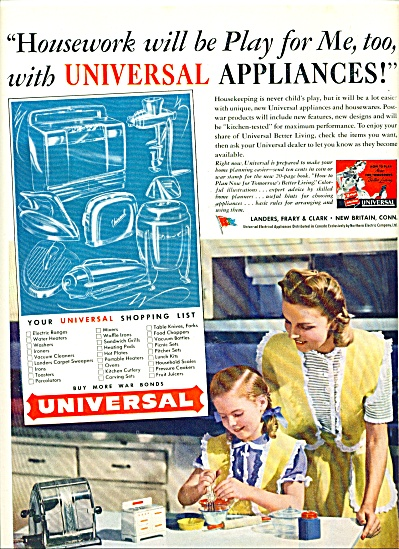 1945 Universal Appliances Ad Mom - Girl