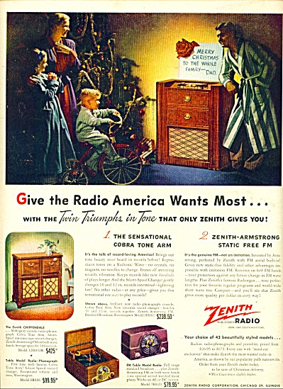 1947 Zenith Radio Ad Merry Christmas Dad