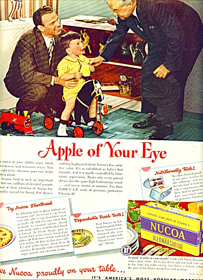 1947 Nucoa oleomargarine AD DAD BOY Apple Eye (Image1)