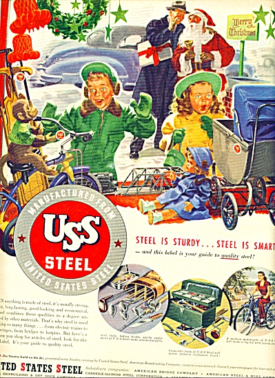 1947 US Steel AD BEAUTIFUL CHRISTMAS ARTWORK (Image1)