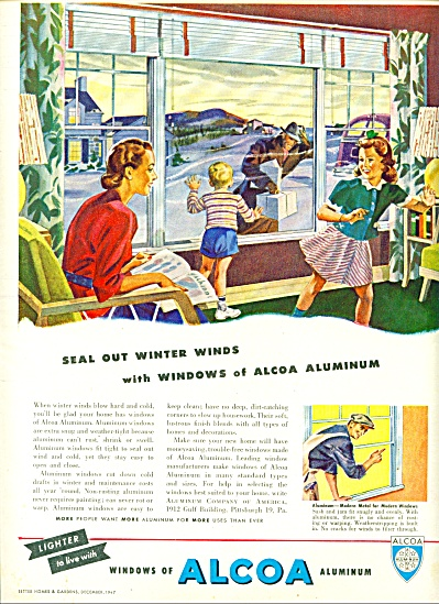 1947 ALCOA AD Vintage FAMILY at WINDOW ART (Image1)