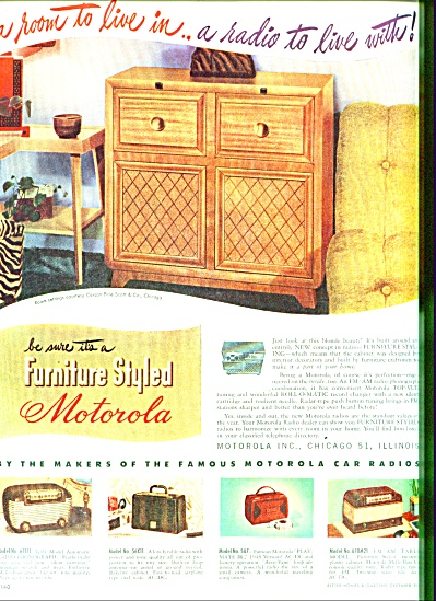 1947 Motorola Ad Radio - Table Top Ad 5 Model