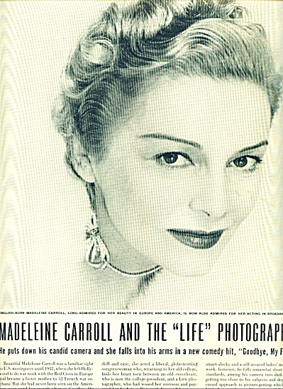 1948 MADELEINE CARROLL Picture Page Story (Image1)