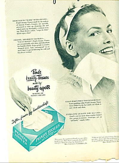 1948 Pond's Tissue AD Beauty Tissues (Image1)