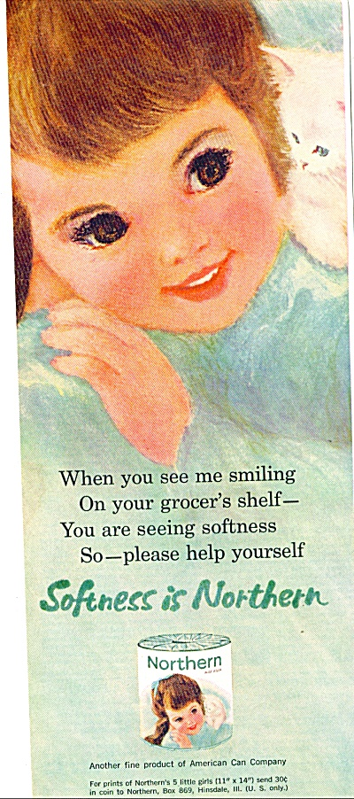 Northern GIRL w/ KITTEN toilet paper ad (Image1)