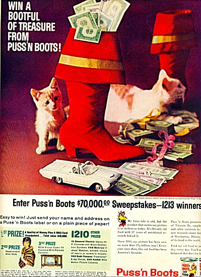 Puss'n Boots cat food ad 1958 (Image1)