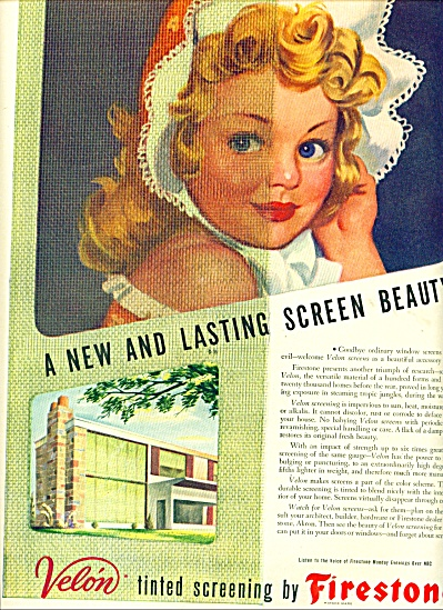 1946 Firestone Velon Screen AD CUTEST GIRL (Image1)