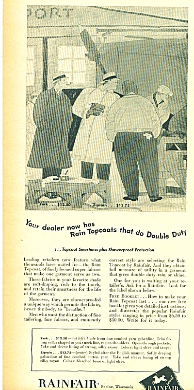 1946 Rainfair rain topcoats AD MEN ARTWORK (Image1)