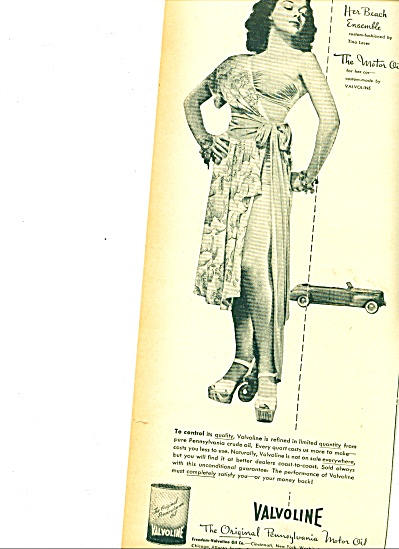 1946 Valvoline Motor oil ad BEAUTIFUL WOMAN (Image1)