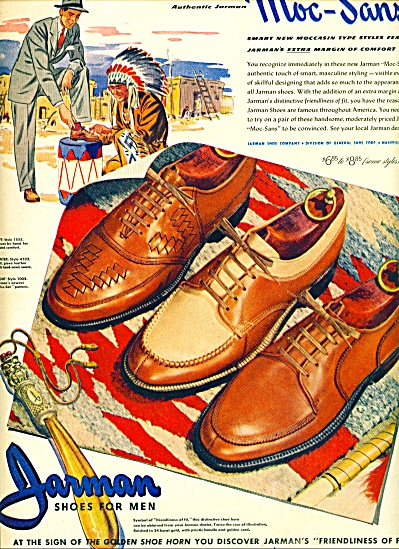 1946 Jarman MEN SHOES AD Indian ARTWORK (Image1)