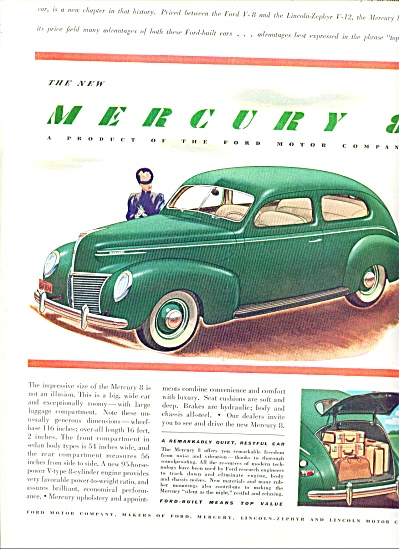 1939 Ford Mercury 8 automobile CAR AD (Image1)
