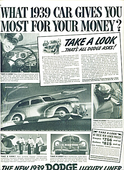 1939 DODGE - PLYMOUTH CAR AD  PROMO (Image1)