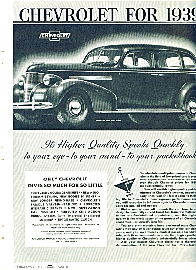 1939 Chevrolet Chevy CAR Promo AD DeLuxe (Image1)