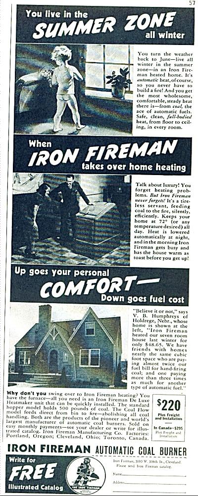 Iron Fireman Automatic coal burner ad 1939 (Image1)