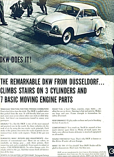 1959 DKW Dusseldorf  German CAR AD (Image1)