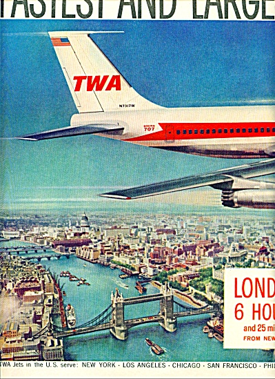 1959 TWA Boeing 707 AD LONDON ARTWORK SIP (Image1)