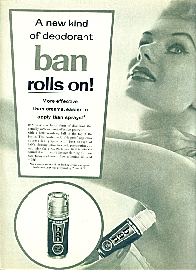 1956 Ban Roll On Deodorant Ad Beauty Model