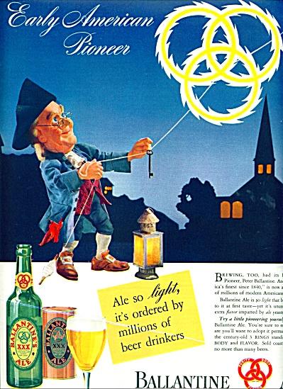1941 Ballantine Ale AD ben Franklin Pioneer (Image1)