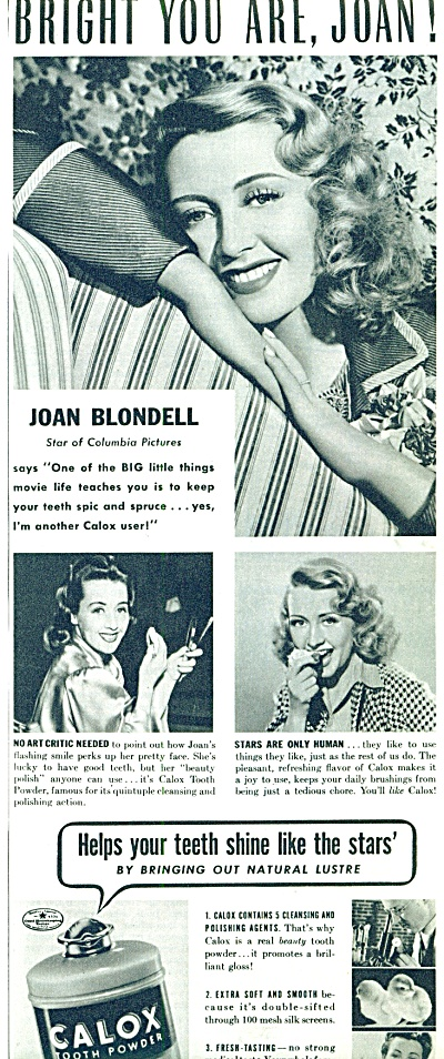1941 Calox Tooth Powder - Joan Blondell Ad