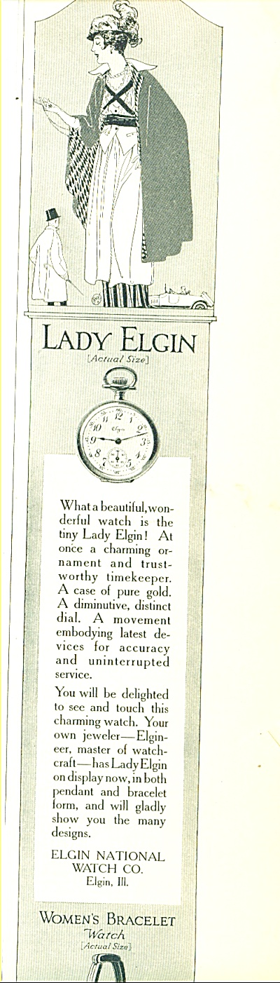 1914 Elgin Watch Co Ad Vintage Artwork