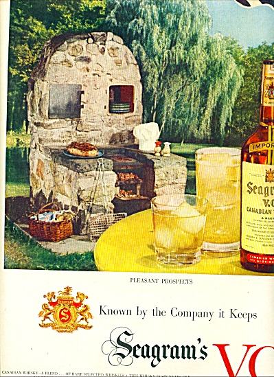 1951 Seagram's Vo Canadian Whisky Ad Bbq