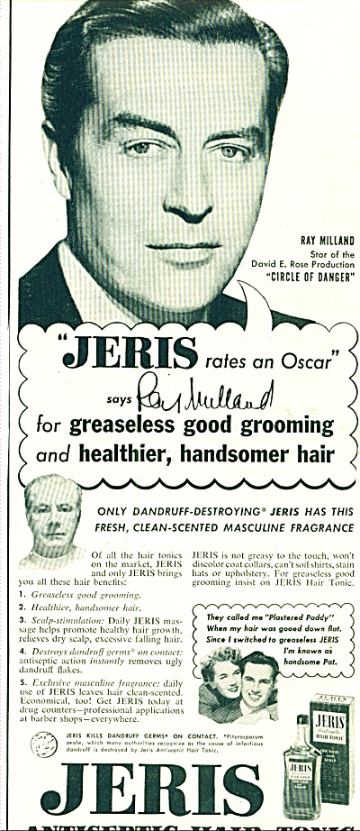 1951 Jeris Hair Tonic AD RAY MILLAND Actor (Image1)