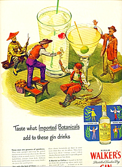 1951 Hiram Walker's GIN AD Foreign PEOPLE ART (Image1)