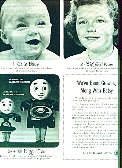 1952 Bell Telephone Ad Betsy As Baby - 12 Yrs