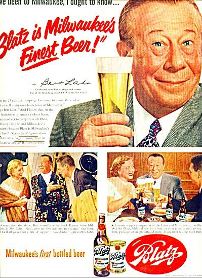 1962 BLATZ BEER AD Bert LAHR OZ Lion (Image1)