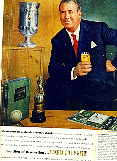 1952 Lord Calvert Whiskey Ad Fred Corcoran