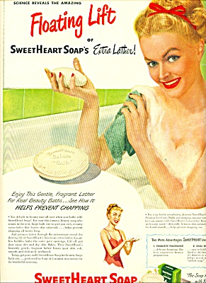 1948 Sweetheart Soap Ad Nude Lady In Bath